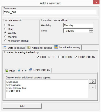 Additional backup copy location selection dialog box